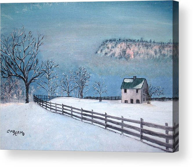 Landscape Acrylic Print featuring the painting Winter Refuge by L A Raven