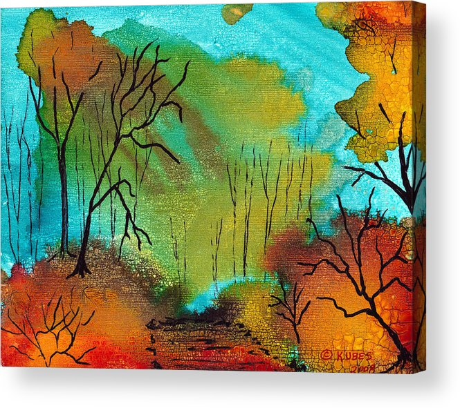 Woods Acrylic Print featuring the mixed media Woodland Path by Susan Kubes
