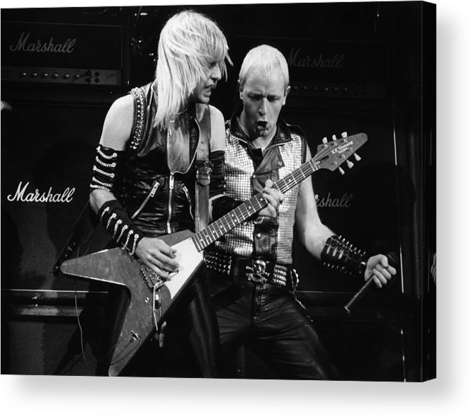K.k. Downing Acrylic Print featuring the photograph Photo Of Judas Priest And Rob Halford by Pete Cronin