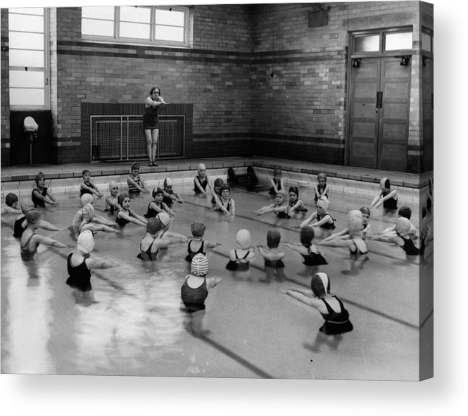 Crowd Acrylic Print featuring the photograph Swimming Lesson by Fox Photos