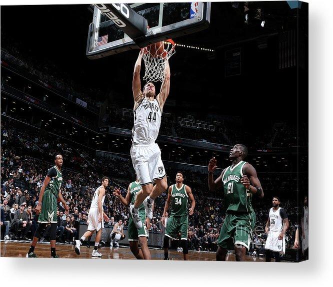 Nba Pro Basketball Acrylic Print featuring the photograph Milwaukee Bucks V Brooklyn Nets by Nathaniel S. Butler