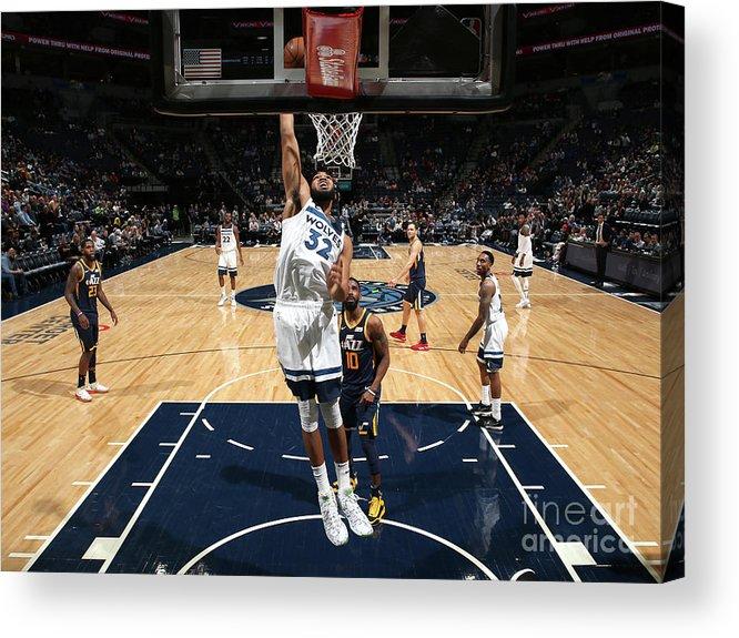 Nba Pro Basketball Acrylic Print featuring the photograph Utah Jazz V Minnesota Timberwolves by David Sherman