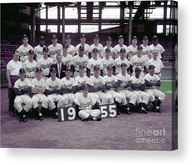 Sandy Koufax Acrylic Print featuring the photograph 1955 Brooklyn Dodgers by Kidwiler Collection