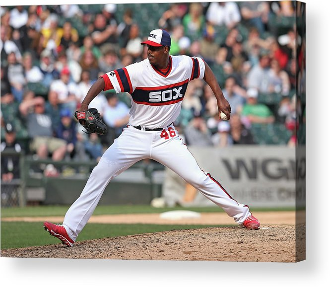 American League Baseball Acrylic Print featuring the photograph Cleveland Indians V Chicago White Sox by Jonathan Daniel