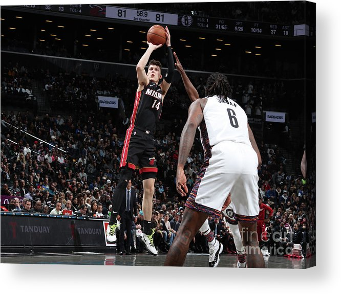 Tyler Herro Acrylic Print featuring the photograph Miami Heat V Brooklyn Nets by Nathaniel S. Butler