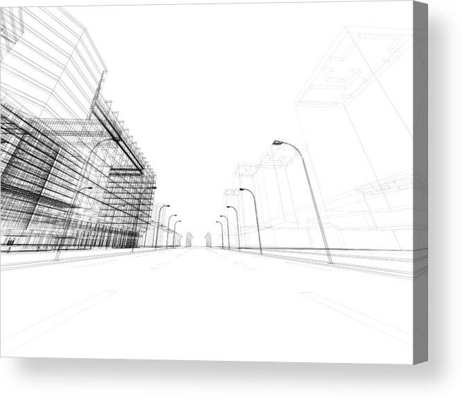 Three Dimensional Acrylic Print featuring the photograph 3d Architecture Abstract by Nadla
