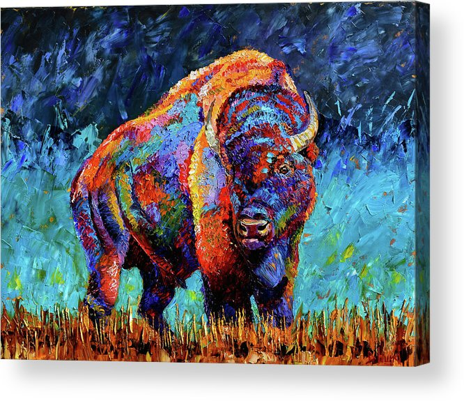 Bison Acrylic Print featuring the painting American Bison by Debra Hurd