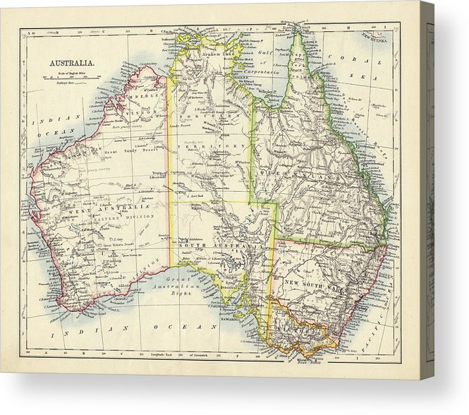 19th Century Style Acrylic Print featuring the photograph Antique Map Of Australia by Nicholas Free