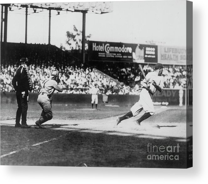 American League Baseball Acrylic Print featuring the photograph Babe Ruth Smashing 1920 by Transcendental Graphics