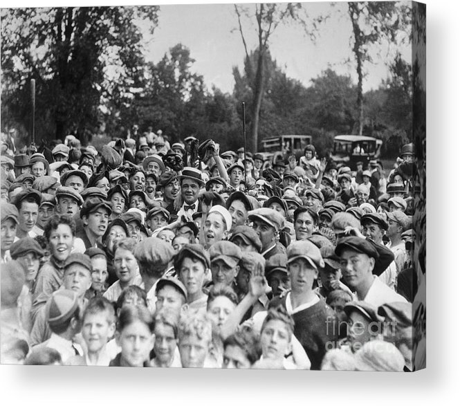 Young Men Acrylic Print featuring the photograph Baseball Player Babe Ruth Among 5,000 by Bettmann