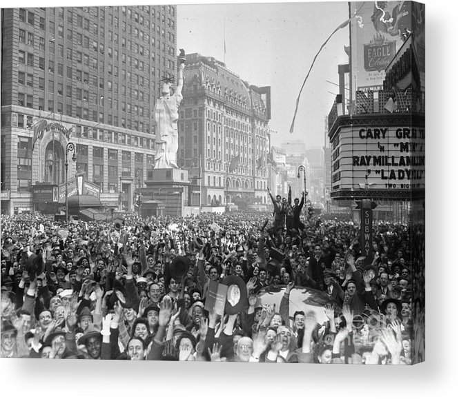 Crowd Of People Acrylic Print featuring the photograph Celebrants In Times Square On V-e Day by Bettmann