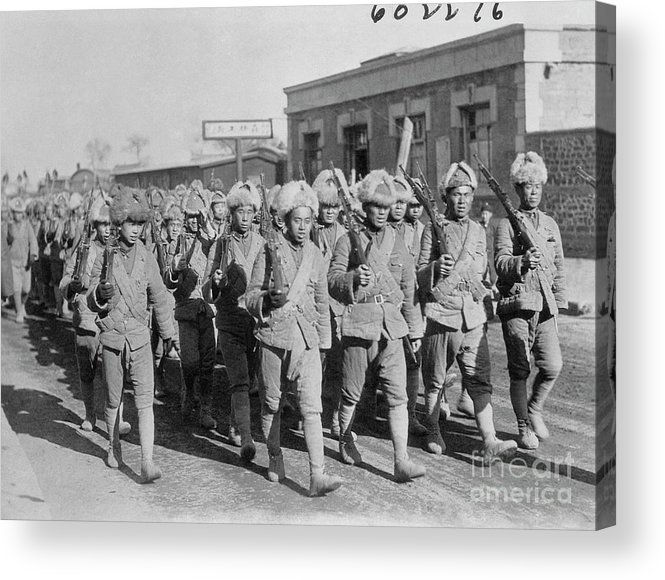 Marching Acrylic Print featuring the photograph Chinese Soldiers Marching With Weapons by Bettmann