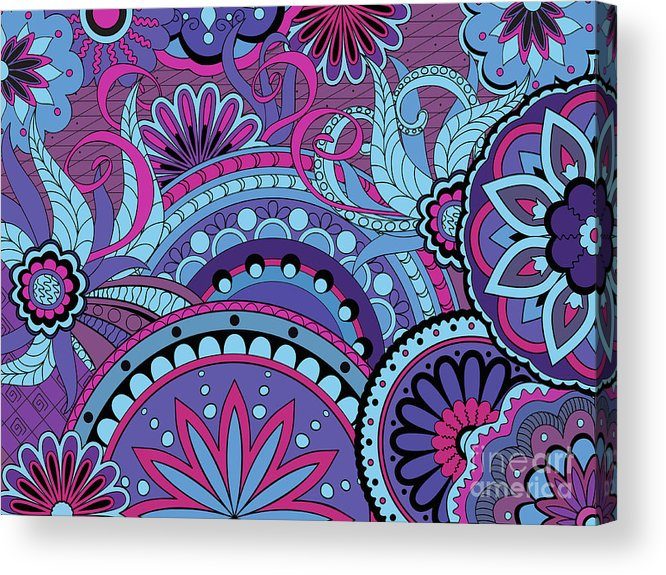 Mandala Acrylic Print featuring the digital art Colorful Floral Background In Boho Style by Sliplee