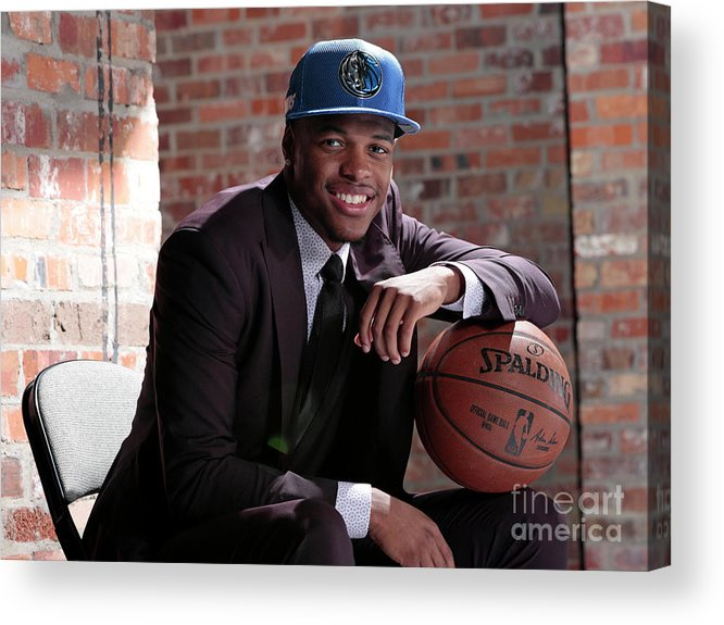 Nba Pro Basketball Acrylic Print featuring the photograph Dallas Mavericks Introduce Dennis Smith by Glenn James