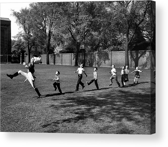 Marching Acrylic Print featuring the photograph Drum Major Practice by Alfred Eisenstaedt
