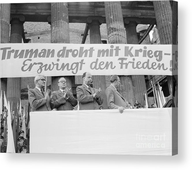 People Acrylic Print featuring the photograph East German Ministers Applauding by Bettmann