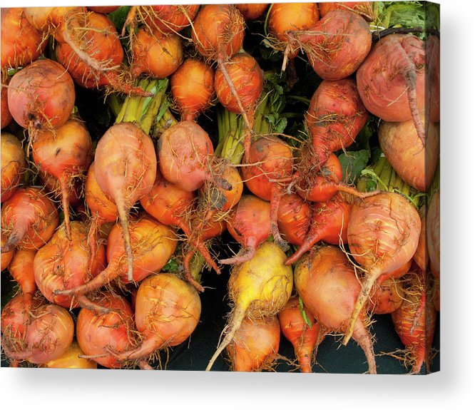 Orange Color Acrylic Print featuring the photograph Golden Beets At A Farmers Market by Bill Boch