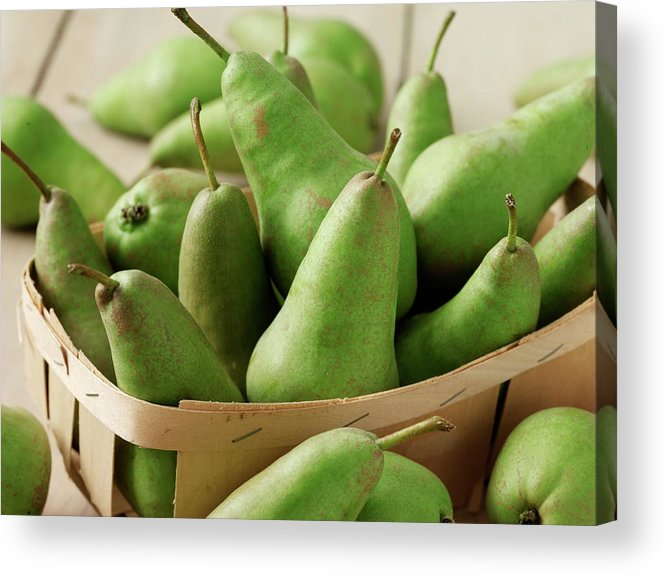 Fruit Carton Acrylic Print featuring the photograph Green Pears In Punnet And Wooden Table by Chris Ted