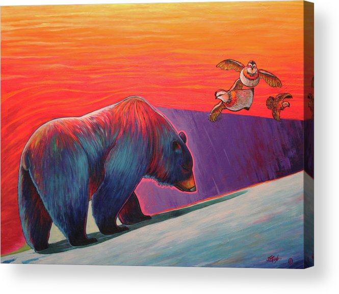 Bear Acrylic Print featuring the painting Intruder by Joe Triano