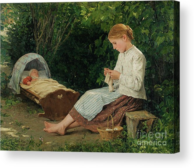 Toddler Acrylic Print featuring the drawing Knitting Girl Watching The Toddler by Heritage Images