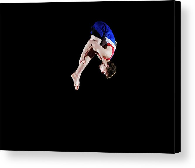 Focus Acrylic Print featuring the photograph Male Gymnast 16-17 Mid Air, Black by Thomas Barwick
