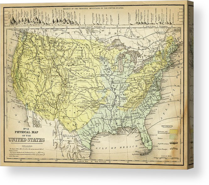 Burnt Acrylic Print featuring the digital art Map Of Usa 1867 by Thepalmer