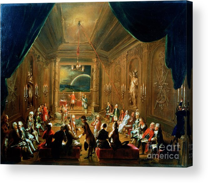 People Acrylic Print featuring the drawing Meeting Of The Masonic Lodge, Vienna by Print Collector