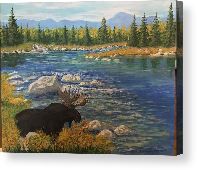 Moose Acrylic Print featuring the painting Moose by river by Don Lindemann