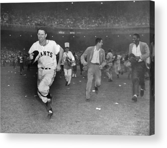 Sport Acrylic Print featuring the photograph New York Giants Captain Alvin Dark Runs by New York Daily News Archive