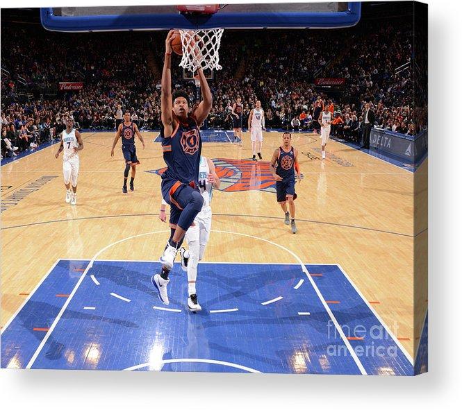 Description Acrylic Print featuring the photograph New York Knicks V Charlotte Hornets by Jesse D. Garrabrant