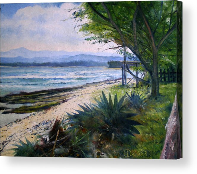 Ombak Indah Acrylic Print featuring the painting Ombak Indah Lampung Indonesia 2008 by Enver Larney