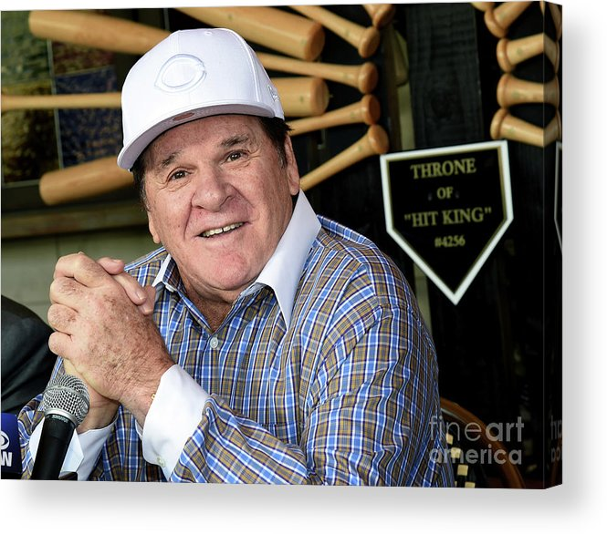 People Acrylic Print featuring the photograph Pete Rose Speaks To Media After by Ethan Miller