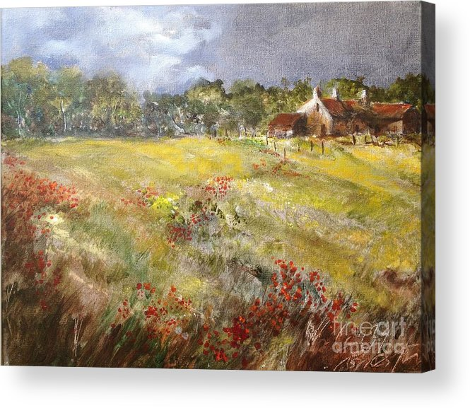 Lizzy Forrester Acrylic Print featuring the painting Poppies in the Cotswolds, Spring in the air. by Lizzy Forrester