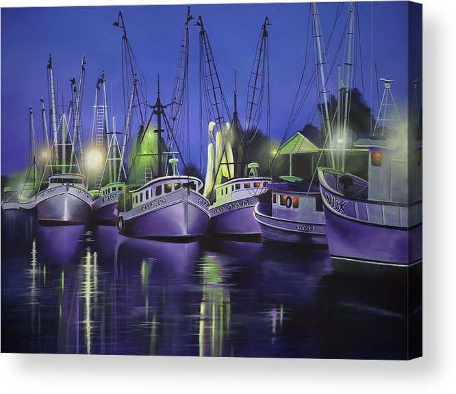 Purple Boats Acrylic Print featuring the painting Purple Boats by Geno Peoples