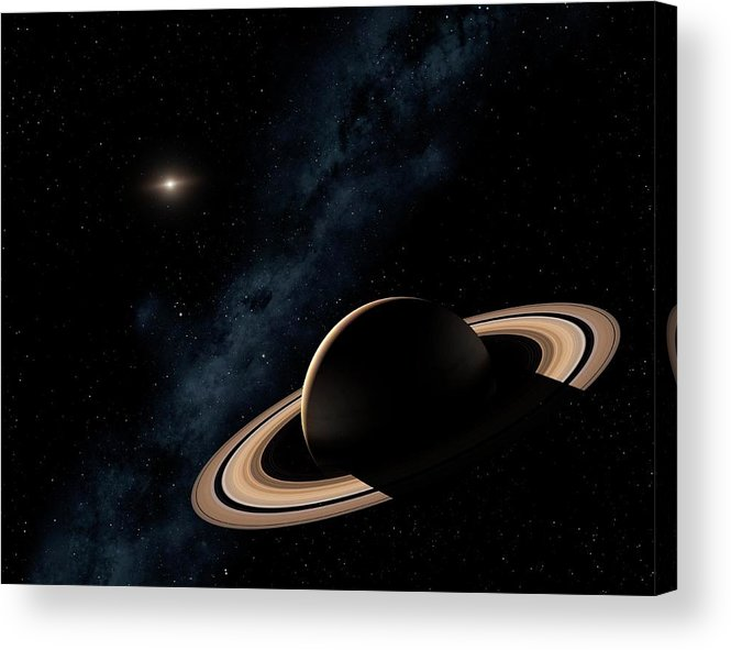 Majestic Acrylic Print featuring the photograph Saturn Planet In Solar System, Close-up by Science Photo Library - Mark Garlick.