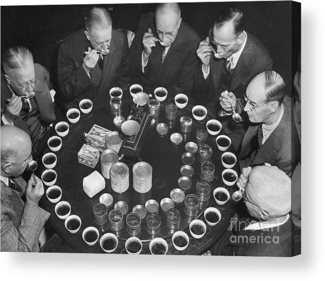 Expertise Acrylic Print featuring the photograph Tea Experts Seated And Testing Teas by Bettmann