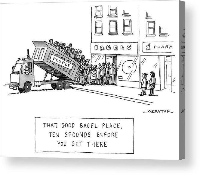That Good Bagel Place Acrylic Print featuring the drawing That Good Bagel Place by Joe Dator