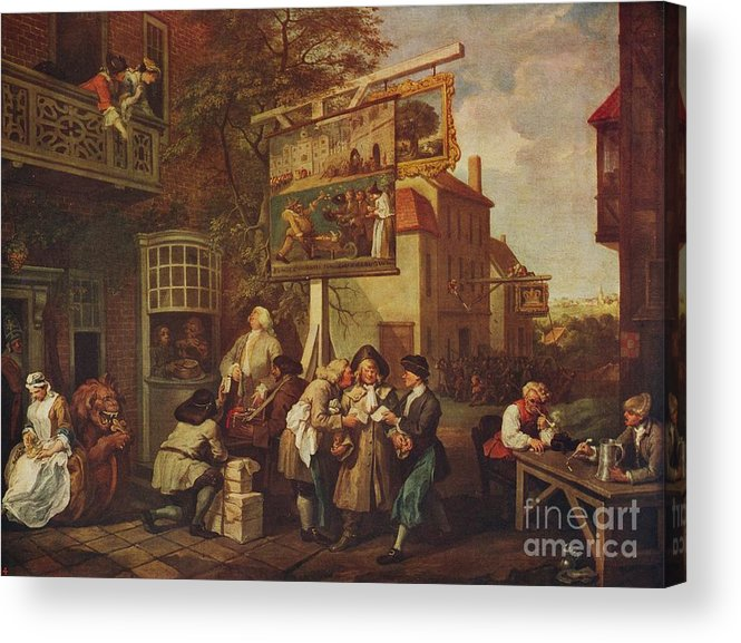 Oil Painting Acrylic Print featuring the drawing The Election Canvassing For Votes by Print Collector