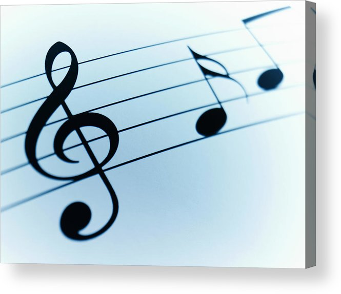 Sheet Music Acrylic Print featuring the photograph Treble Clef And Notes by Adam Gault
