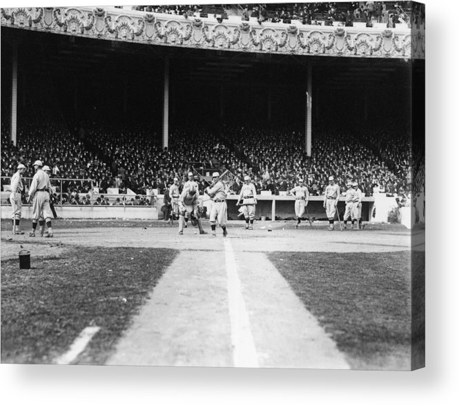 People Acrylic Print featuring the photograph World Series Boston Red Sox V New York by Fpg