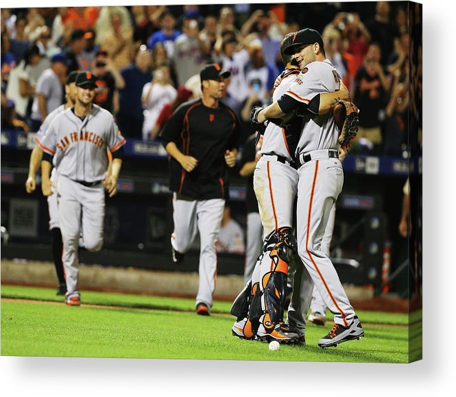 People Acrylic Print featuring the photograph Chris Heston and Buster Posey by Al Bello