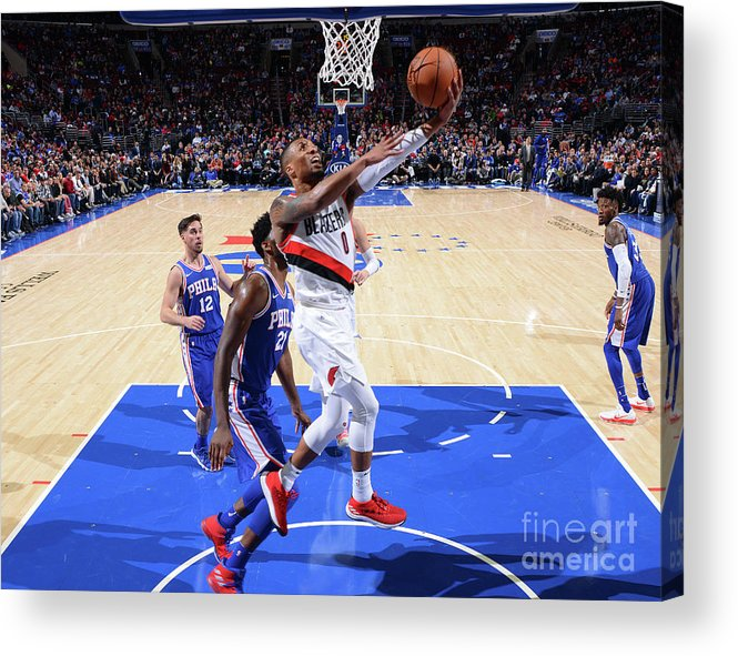 Nba Pro Basketball Acrylic Print featuring the photograph Damian Lillard by Jesse D. Garrabrant
