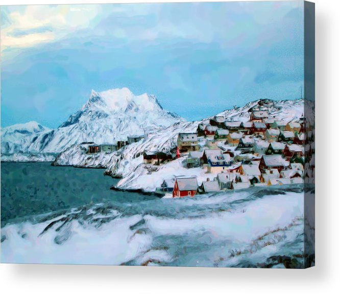 Nuuk Greenland Acrylic Print featuring the mixed media Nuuk Greenland by Asbjorn Lonvig