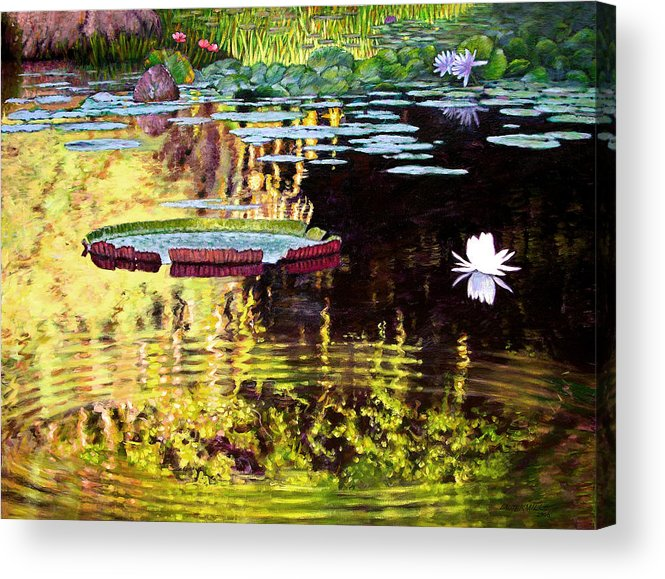 Garden Pond Acrylic Print featuring the painting Ripples On A Quiet Pond by John Lautermilch