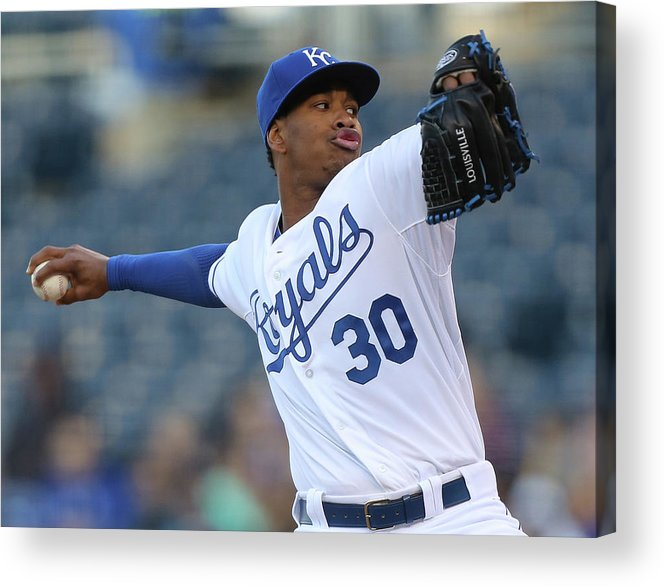People Acrylic Print featuring the photograph Yordano Ventura by Ed Zurga
