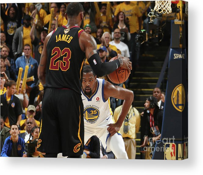 Playoffs Acrylic Print featuring the photograph Kevin Durant and Lebron James by Nathaniel S. Butler