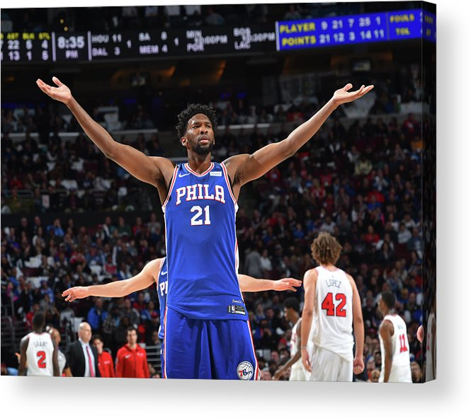 Nba Pro Basketball Acrylic Print featuring the photograph Joel Embiid by Jesse D. Garrabrant