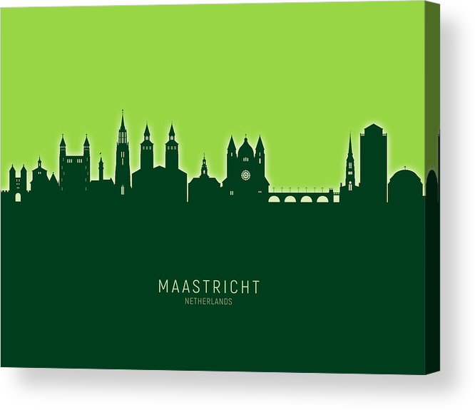 Maastricht Acrylic Print featuring the digital art Maastricht The Netherlands Skyline by Michael Tompsett