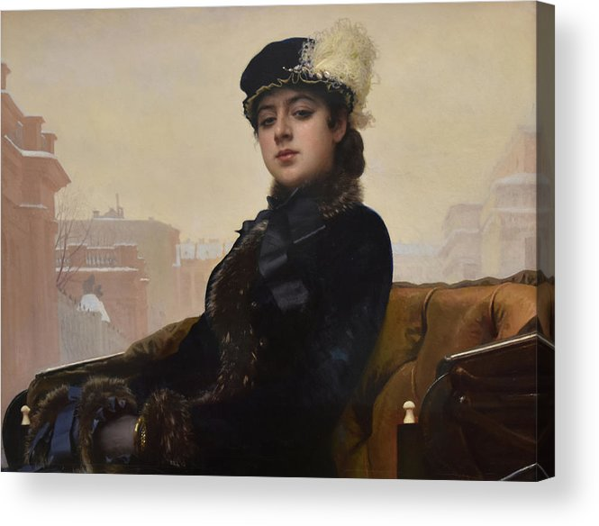 Unknown Woman Acrylic Print featuring the painting Portrait of an Unknown Woman by Ivan Kramskoy