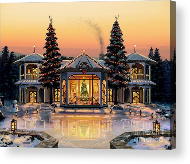 Christmas Acrylic Print featuring the painting A Warm Home For The Holidays by Stu Shepherd